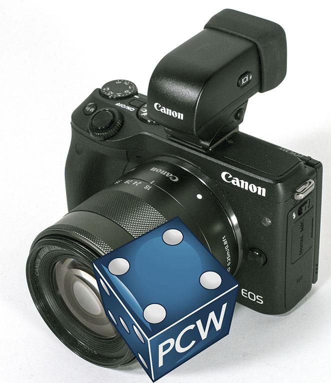 EKSTERN SØKER: Canon kan tilby en utmerket elektronisk søker til EOS M3, men den er unektelig litt stor og klompete, og den fordyrer kameraet en god del. I denne testen blir det vel mer en utjevning, siden konkurrenten er dyrere i utgangspunktet. (Foto: Toralv Østvang)