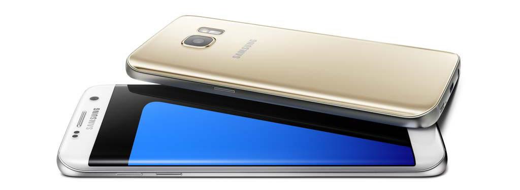 FARGENE: Galaxy S7-generasjon fås i sort, hvitt og gullfarge. (Foto: Samsung)