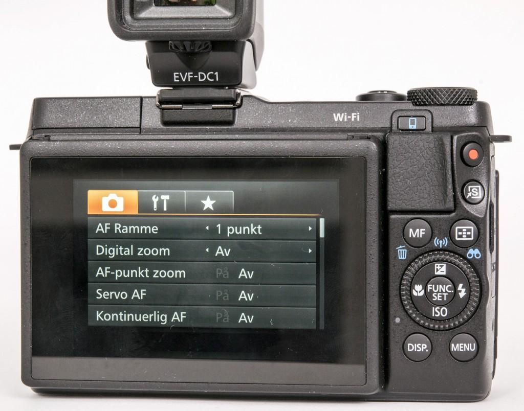 BAKSIDEN: Canon G1 X Mark II har et ganske lettbetjent menysystem og betjeningsknapper som vitner om røtter i kompaktkamera-verdenen.