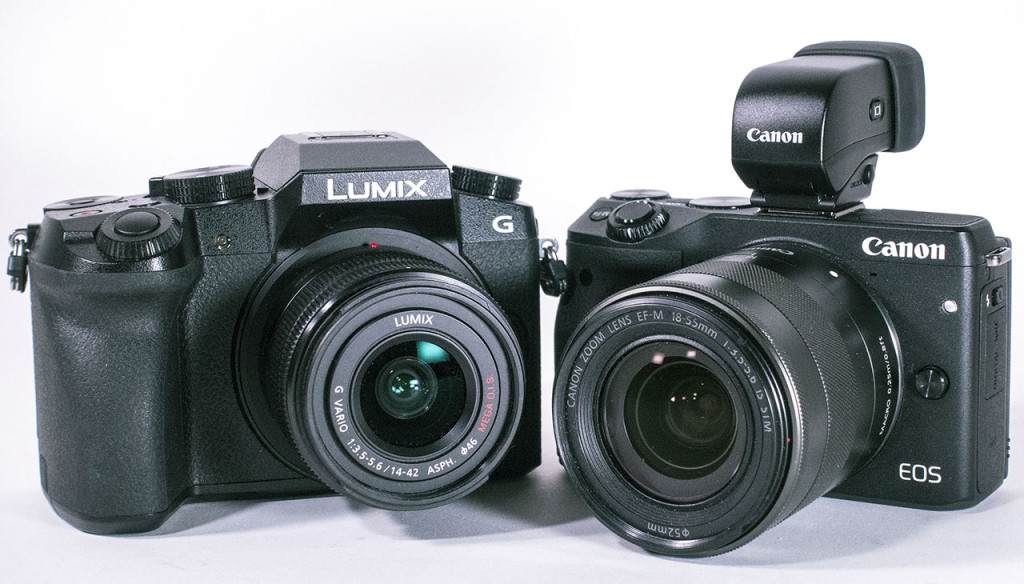 DUELLANTER: Panasonic Lumix G7 (til venstre) og Canon EOS M3. (Foto: Toralv Østvang)