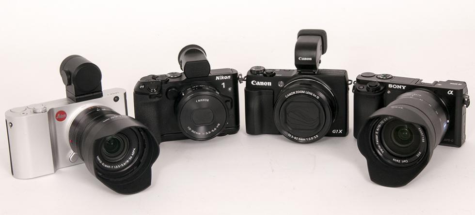 ENTUSIAST-KAMERAER I BESKJEDEN STØRRELSE: Fra venstre Leica T, Nikon 1 V3, Canon G1 X og Sony a6000. (Alle foto: Toralv Østvang)
