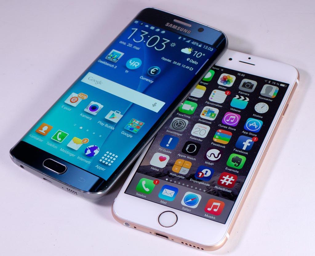 DUELL: Samsung Galaxy S6 Edge og Iphone 6 er harde konkurrenter. (Foto: Toralv Østvang)