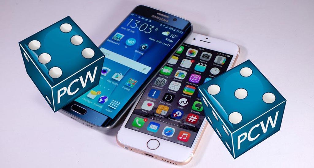DOMMEN: Sekseren går til Samsung Galaxy S6 Edge, mens vi gir en sterk femmer til Iphone 6. (Foto: Toralv Østvang)