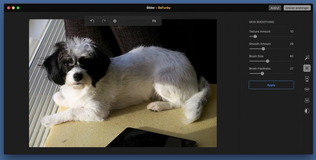 VOV: Skin Smoothing er kanskje ikke det rette verktøyet til bilder av hunder, men la gå.