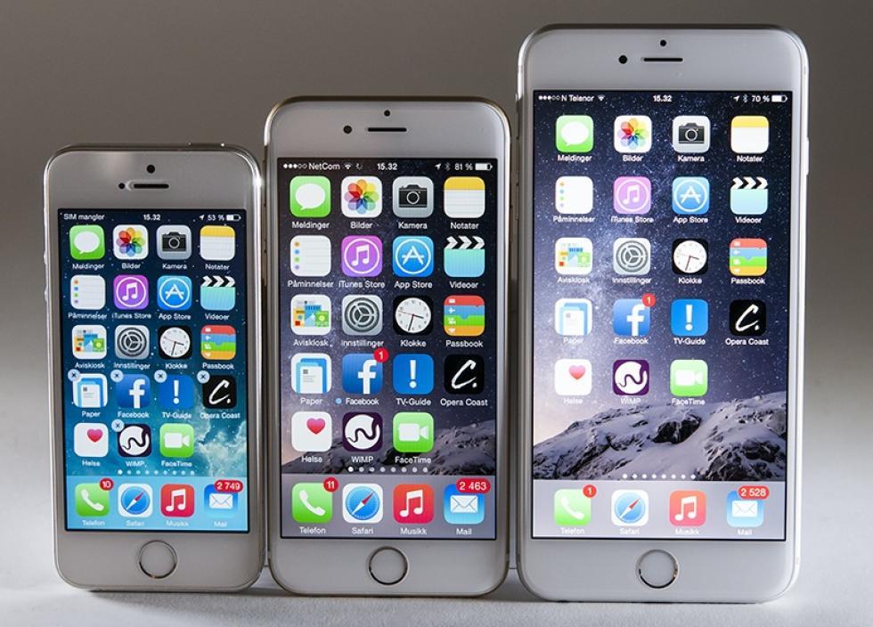IPHONE VOKSER: Fra venstre: iPhone 5s, iPhone 6 og iPhone 6 Plus. (Foto: Toralv Østvang)