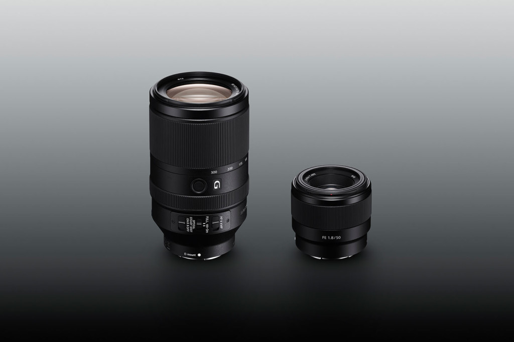 Sonys nye fullformatobjektiver, 70-300 mm og 50 mm. (Foto: Sony)