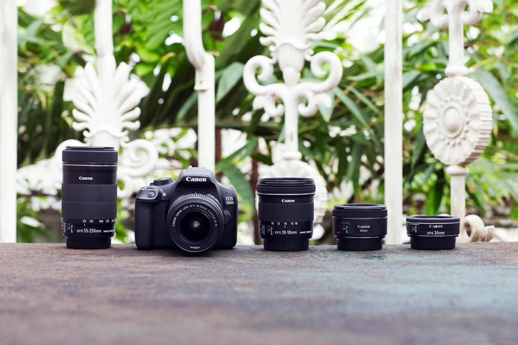 OPTIKKFAMILIEN: Canon EOS 1300D kan brukes med hele det gigantiske objektivutvalget til Canon. (Foto: Canon)