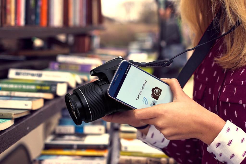 NÆRFELTSKOMMUNIKASJON: Canon EOS 1300D har fått full trådløs-funksjonalitet og støtter NFC-kommunikasjon mot mobiler. (Foto: Canon)