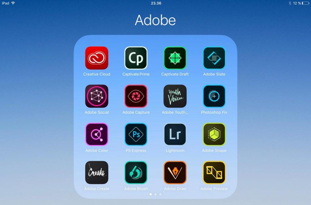 ADOBE-APPER: Adobe har lagt ut svært mange apper. Her er et knippe av de 35 Adobe-appene på artikkelforfatterens iPad.