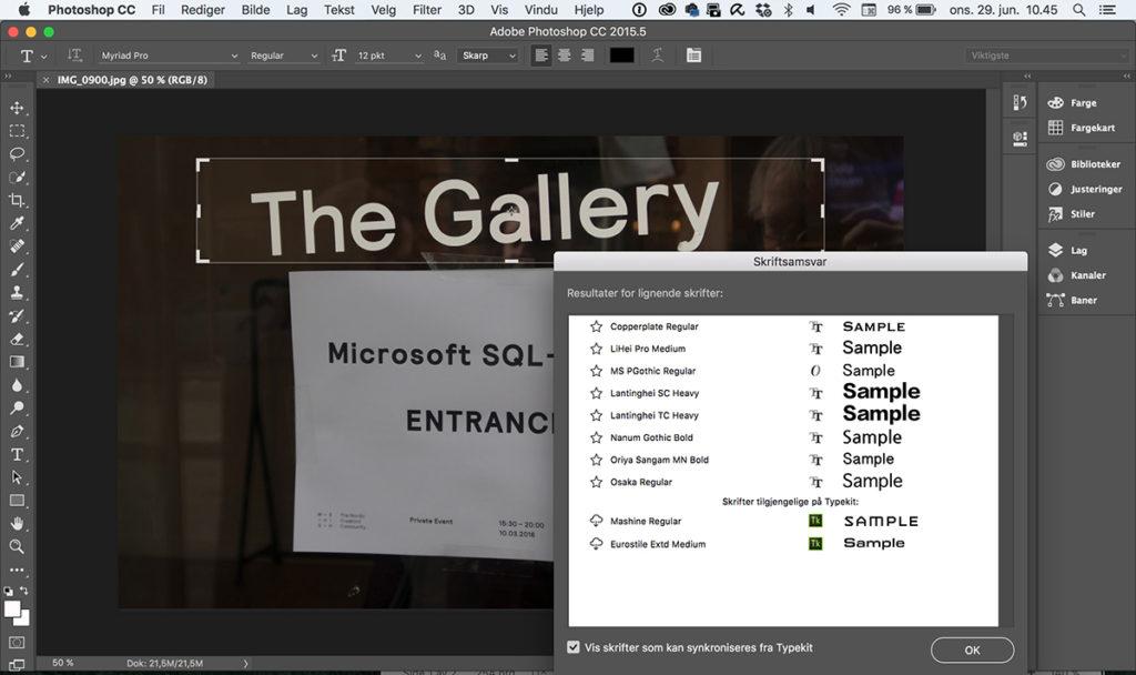 SKRIFTANALYSE:I vår inviterte Microsoft til SQL-treff i Oslo sentrum. Den nyeste Photoshop-versjonen har funnet ut hvilke fonter som matcher teksten på plakaten (Foto: Toralv Østvang)