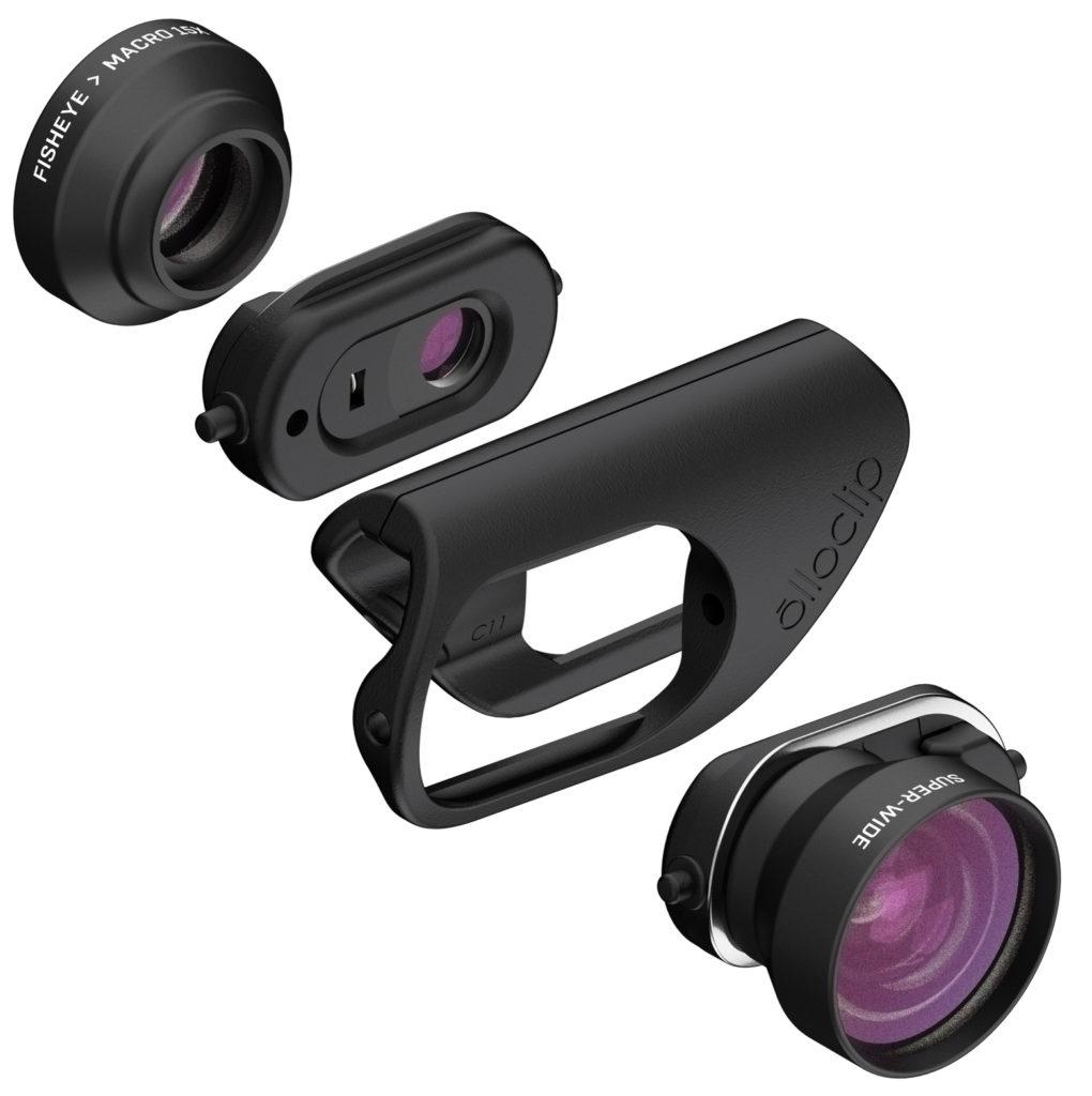 KOMPONENTENE: Dette er hva Olloclip Core Lens Set består av. (Foto: Olloclip)