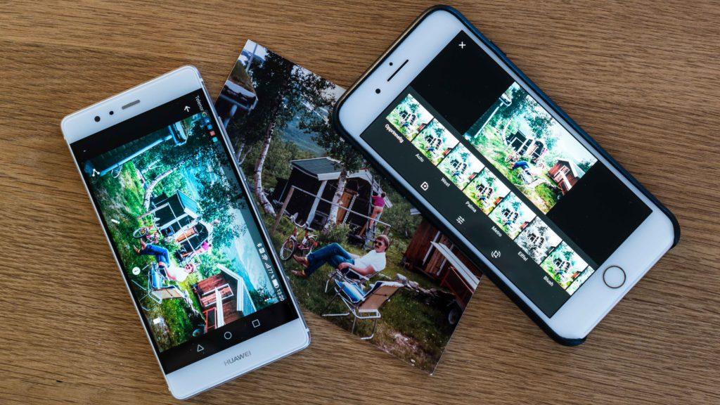 KRYSSPLATTFORM: Googles foto- og skanner-programvare fungerer godt både på Android- og iOS-mobiler, her representert ved Huawei P9 og iPhone 7 Plus. (Foto: Toralv Østvang)